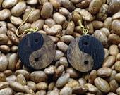 Mesquite Burl and Wenge Wood Yin Yang Earrings