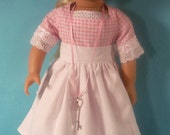 1774- 18 inch  Doll Dress, Apron  House Key Necklace