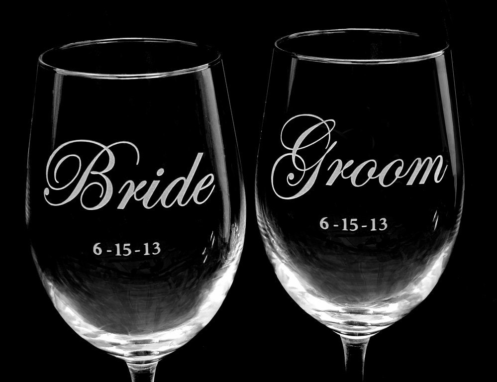Printed Wedding Wine Glasses : Personalized Wine Glasses Wedding Present for by bradgoodell