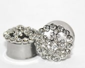"Flower Crystal Cluster Plugs 5/8"" 3/4"" 7/8""  16mm 19mm 22mm"