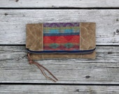 navajo arrow waxed canvas zippered pouch utility foldover clutch purse