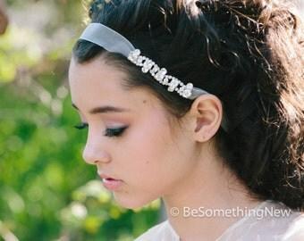 rhinestone chain and organza ribbon tie headband, wedding hair bridesmaid accessories