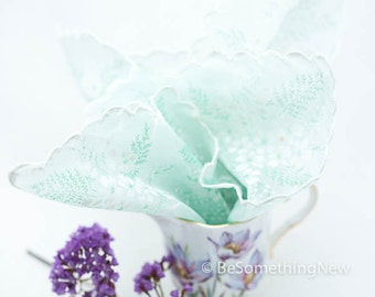 Vintage wedding hankie, in pale green with white flowers, wedding accessories