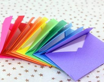 Handmade Tiny Note card and Envelope Set -Rainbow