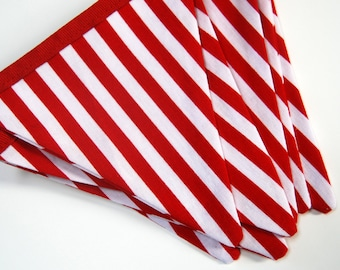 Carnival Birthday MINI Banner Bunting, Red & White Stripe Circus Fabric Flags, Summer Photo Prop, Candy Shop Garland for girl or boy