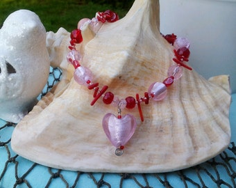 Pink and Red Glass Heart Beaded Necklace