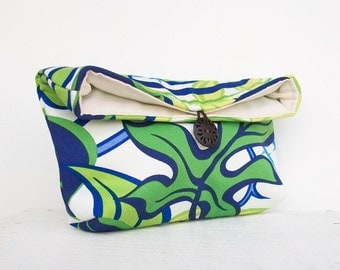 Blue and Green Clutch Purse, Bridesmaid Gift, Leaf Clutch, White, Makeup Bag, Travel Cosmetic Bag, Gift Under 25