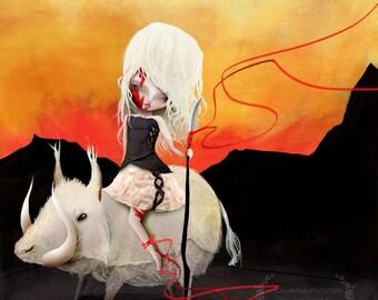 "Fine Art Print - ""Wild"" - Medium Size 8.5x11 or 8x10 - Little Wild Girl and Albino Boar - digital illustration"
