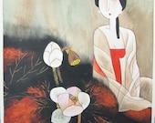 Perturbed Women - Erotic Village Folk Art Painting 10x10 inches