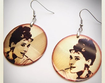Large Old School Pin Up- Kitsch style Audrey Hepburn earrings