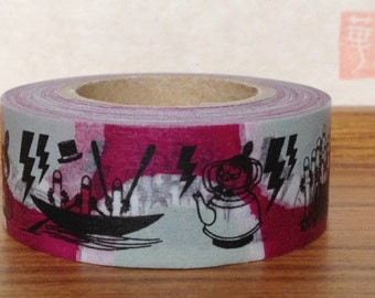 SALE - moomin character - washi masking tape - 20mm x 15m - magenta and bamboo green- hattifatteness