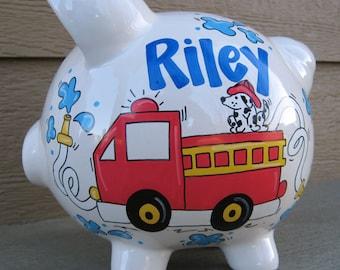 Custom Personalized Piggy Bank - Fire Truck