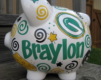 Football Team Spirit-Personalized Piggy Bank-Size Large