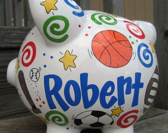 Large Personalized Sports Piggy Bank- Red/Blue/Green