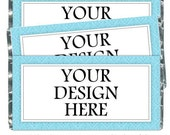 Full-Size Candy Wrappers - fit over 1.55 oz chocolate bars - CUSTOM DESIGN, baby shower, wedding shower, party favor, birth announcement