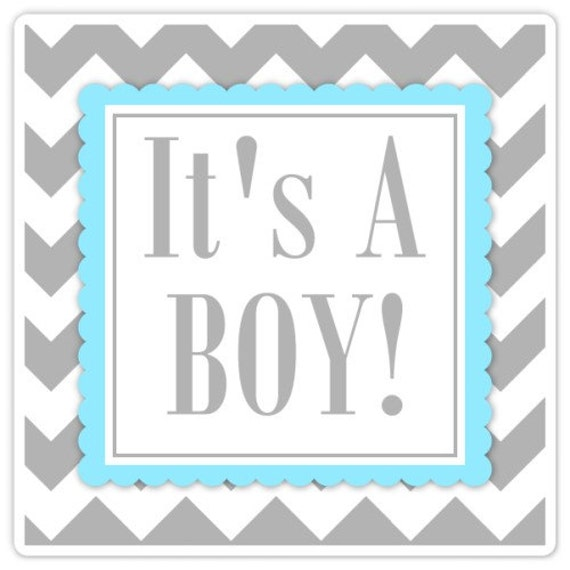 Baby Shower Labels Chevron It S A Boy Stickers 2 Inch