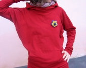 Funky comfortable hoodie - red cotton knit
