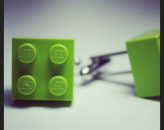 Made from Lego (r) Lime Green Brick Cufflinks ~ 80s Architect Engineer Gift Birthday
