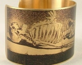 Human Skeleton Brass Cuff Bracelet Macabre Bones in the Mausoleum