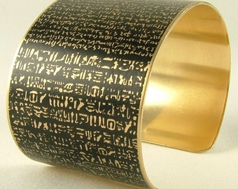Rosetta Stone - Ancient Egyptian Hieroglyphs - Greek Demotic Languages Brass Cuff Bracelet