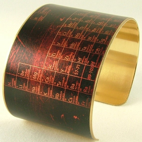 Periodic Table of Elements - Steampunk Brass Cuff Bracelet - Chemistry Science Gift - Gifts Under 40
