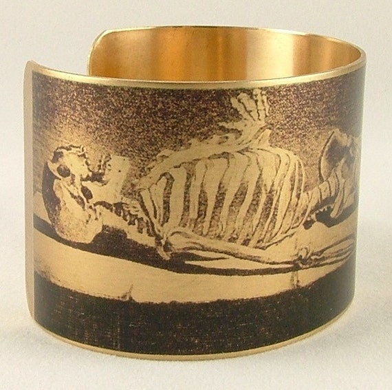 Human Skeleton Brass Cuff Bracelet Macabre Bones in the Mausoleum
