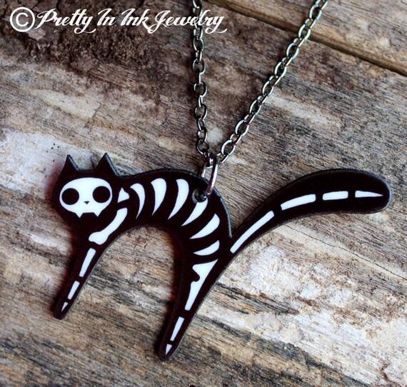 Dead Kitty Cat Skeleton Necklace