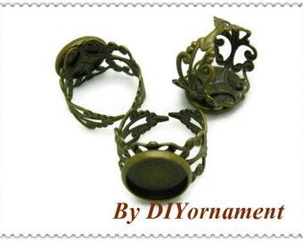 Ring Blanks -- 50pcs Adjustable Antique Bronze Ring Base 12mm pad H24--20% OFF