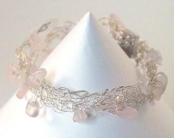 Rose Quartz Bracelet - Pink Crochet Bracelet - Cobweb Bracelet - Unconditional Love - UK Seller