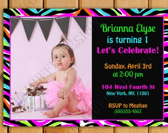 Baby's First Bday Invite- Zebra Print- DIY Printable customize with Your Photo