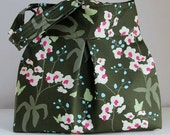 Orchid in Thyme Fabric Pleated Hobo Handbag / Purse - READY TO SHIP