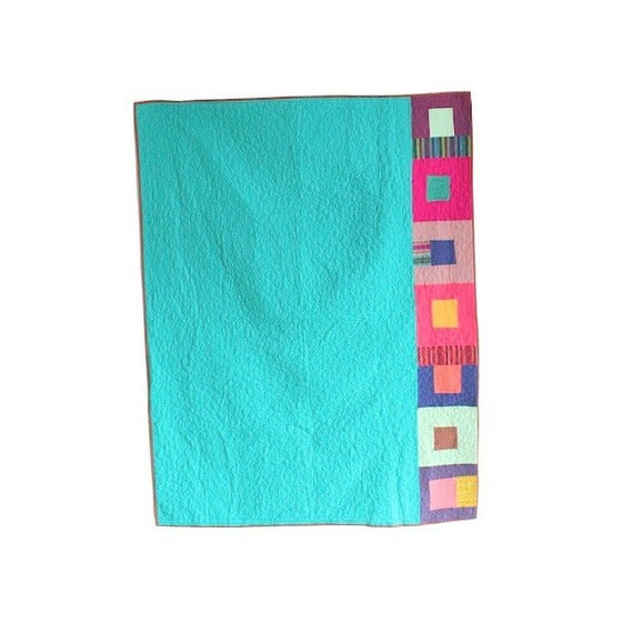 Super Sale Discount Price - Modern Patchwork Quilt -  Turquoise Blue and Multicolor Striped Squares