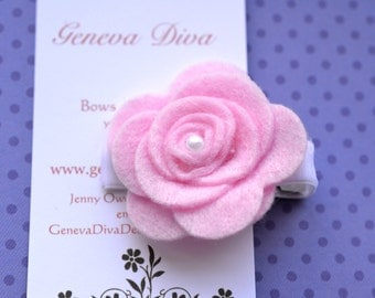 Light Pink Felt Rosette Hairclip