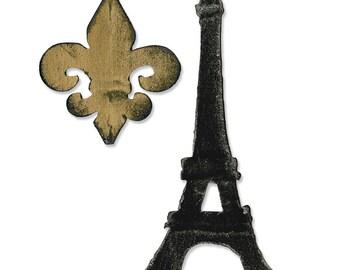 Sizzix Bigz Die -Fleur de Lis and Eiffel Tower - Tim Holtz