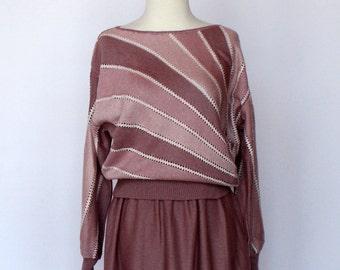 80's Sweater & Skirt Set / Knit Skirt / Bat Wing Sweater / Striped Sweater / Small to Medium