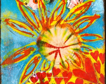 "Bursting - 8""x8"" Mixed Media Art Print  - Home Decorating, Brightly Coloured Art, Art with Hearts, Art Print, Interior Decorating"