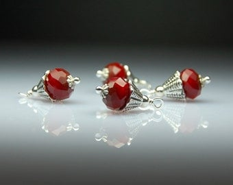 Bead Dangles Spring Red Ruby Quartz Set of Four Vintage Style R27