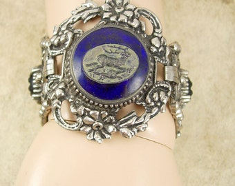 Vintage Czech GLass HUGE victorian bracelet Gothic mythical cabs