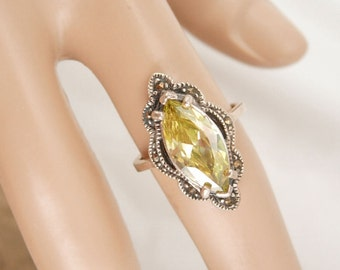 Vintage STUNNING RIng 7CT Deco style Citrine Ornate marcasite setting size 7