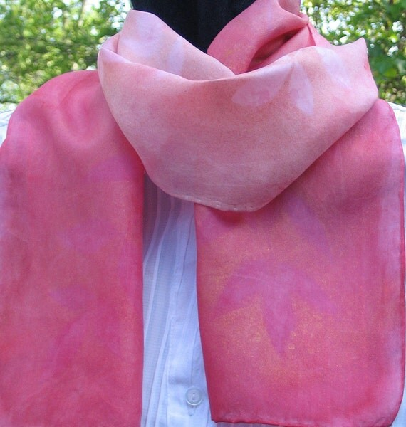 SALE - Was 45.00, Now 25.00 - Pink Leaves Silk Scarf