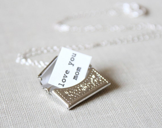 Silver Envelope Necklace with Secret Message - Silver Locket For Mother's Day