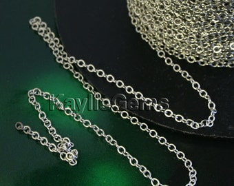 Platinum 1.8x2.4mm Fine Delicacy Soldered Brass Oval Cable Cross Link Chain - 12ft