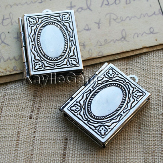Book Locket Pendants Charms Antique Silver - LKBS-104AS - 2pcs