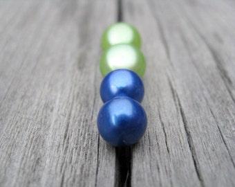 sapphire blue pearl earrings. sterling silver earings. lime green jewelry. birthstone gift set.