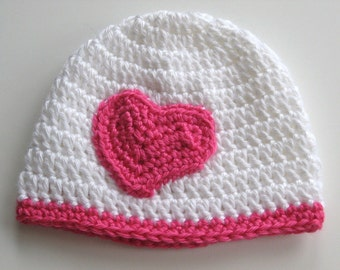 Ready To Ship Crochet Baby Girl Hat - Crochet Heart Baby Girl Hat - Crochet Valentine Baby Girl Hat - Size 0 to 3 Months