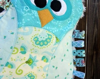 "Commercial Use PDF Pattern for ""Maggie the Taggie Owl"", Tag Blanket"