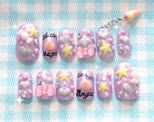 Fairy kei, Japanese 3D nail, nail dangling, unicorn, pastel, lilac, lavender, purple, stars, sweet lolita, Harajuku, deco nail, magical girl