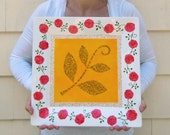Family plate - Hand painted large square porcelain plate personalized with names & message - Red roses with gold highlights