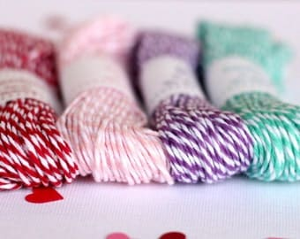 Baker's Twine Sweet Mix . 15 yards each of Maraschino Red, Blossom Pink, Lilac & Caribbean Teal