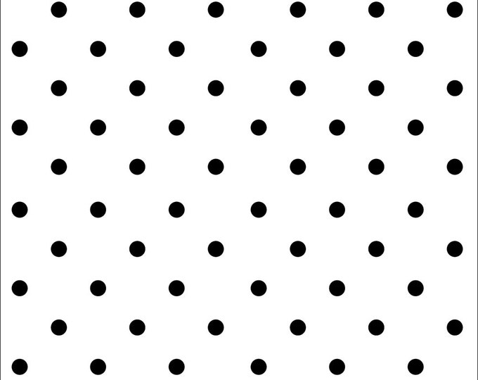 Domino Dot Polka Dot Fabric by Ellen Medlock - 1 Yard Cut White Black Quilting Sewing Cotton Fabric (# 916W  )